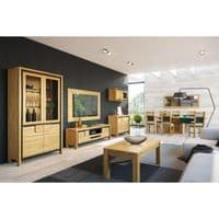 Nicholas Right Hand Oak Wooden Assembled Display Cabinet UK  With Mesh Fronts